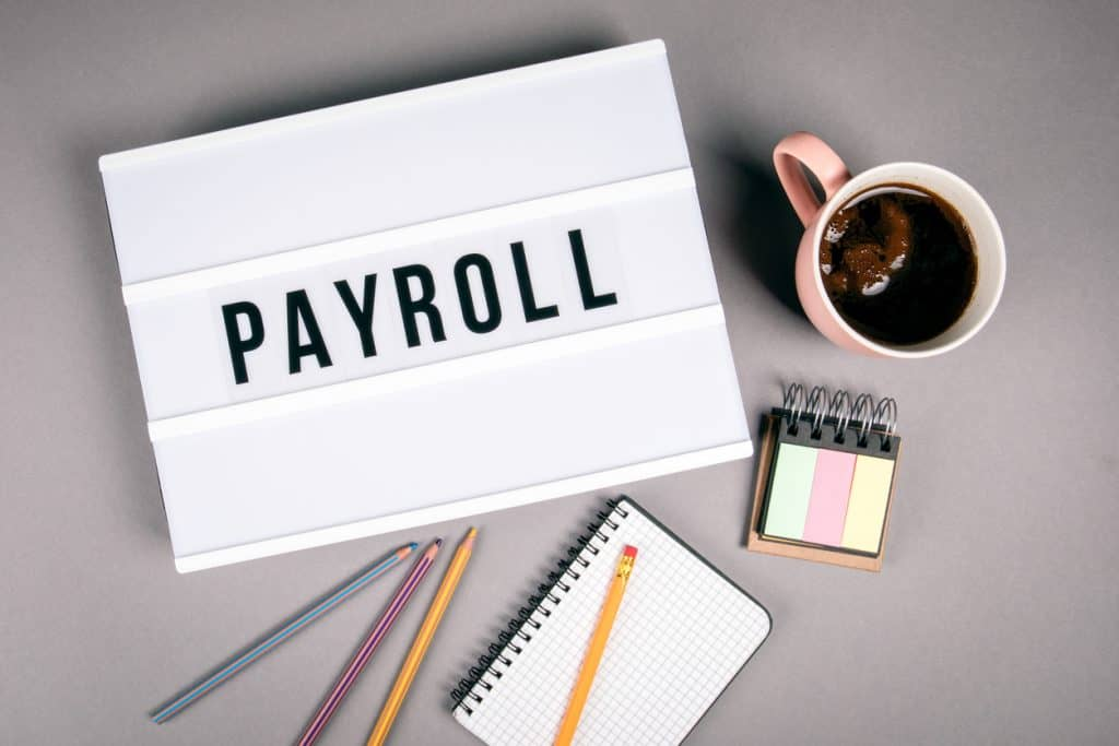 Payroll. Text in light box. Pink coffee mug on gray background